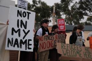 Refugee supporters at Villawood DC. By: Kate Ausburn